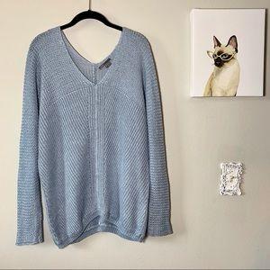 Vince Open Knit V Neck Linen Sweater